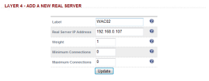 Load Balancer - WAC Add Real Server