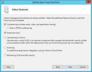 Lync 2013 FE Topology - 09 Pool Features