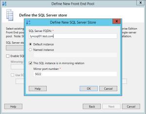 Lync 2013 FE Topology - 12 SQL Server Store