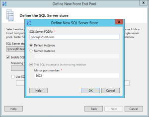 Lync 2013 FE Topology - 13 Mirror SQL Server Store