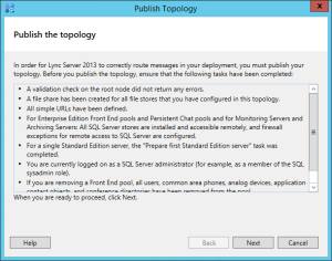 Lync 2013 FE Topology - 19 Publish Wizard