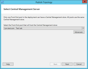 Lync 2013 FE Topology - 20 Select Central Management Store CMS Pool