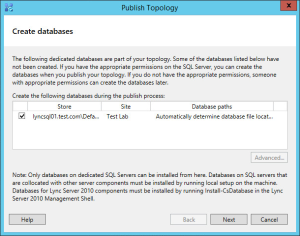 Lync 2013 FE Topology - 22 Create CMS Databases