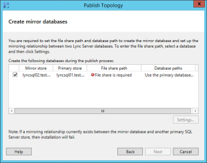 Lync 2013 FE Topology - 23 Create Mirror Databases