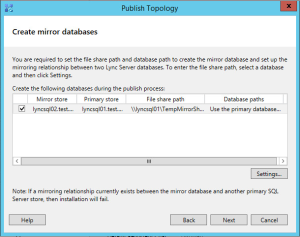 Lync 2013 FE Topology - 24 Create Mirror Databases