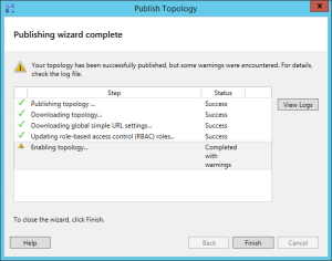 Lync 2013 FE Topology - 26 Publish Topology