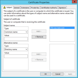Office Web Apps 2013 Certificate Request