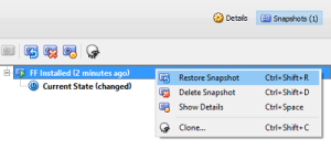 Revert to or restore snapshot as needed