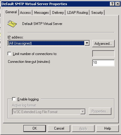 SMTP Server Settings