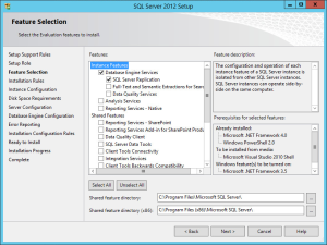 SQL Server 2012 - Setup Feature Selection