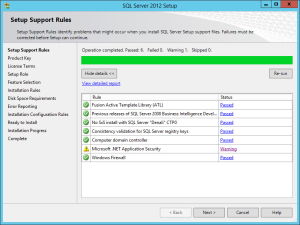 SQL Server 2012 - Setup Support Rules